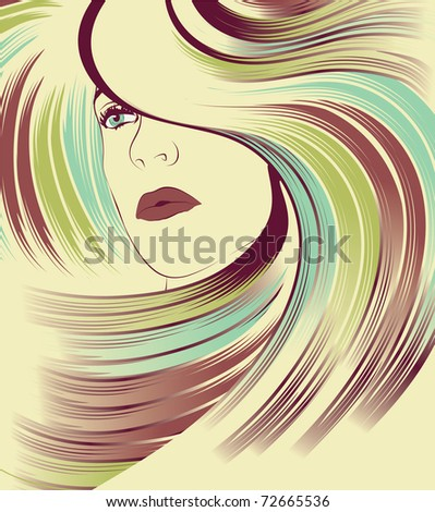 Woman's face with long colorful hair