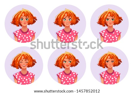 Woman's facial expressions. Cute girl with various emotions vector flat illustration. Six emotional faces for stickers in cartoon character design isolated on white background.