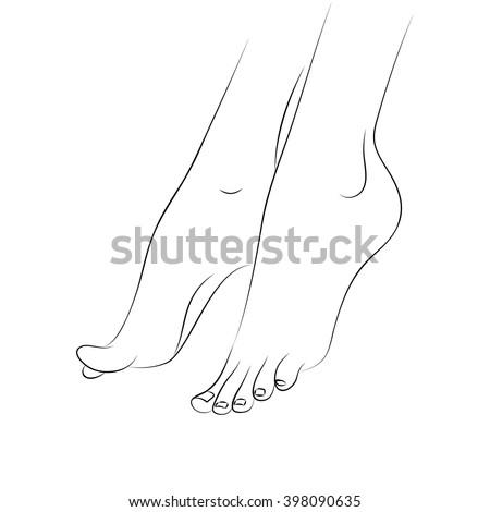woman's feet outline vector