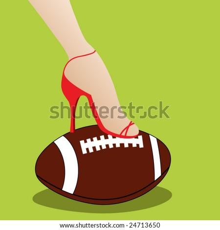 woman's foot in heels over football