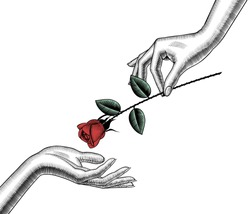 Woman's hand give red rose into other hand. Retro style valentine greeting card design. Vintage color engraving stylized drawing. Vector illustration