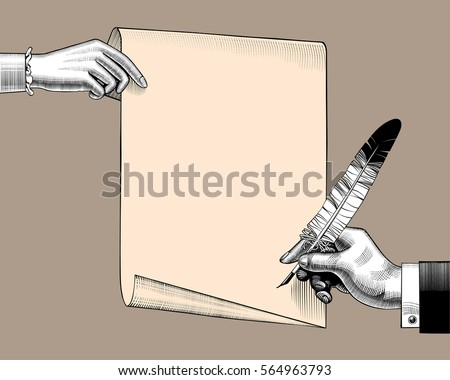 woman's hand holding a paper...