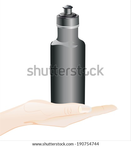 Woman's hand holding object-bottle for sport isolated on white background.