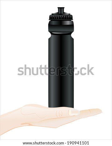 Woman's hand holding object- water drinking sport bottle isolated on white background.