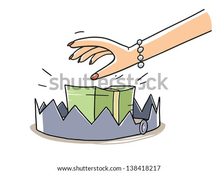 woman's hand taking a dollars stack on the bear trap. Finance risk concept. cartoon illustration isolated on white background