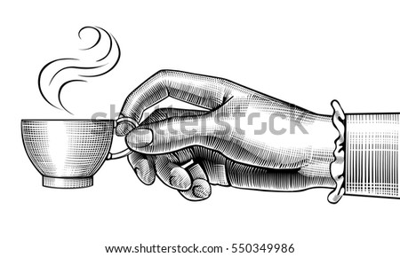 woman's hand with a coffee cup. ...