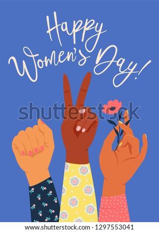 Woman's hand with her fist raised up. Girl Power. Feminism concept. Realistic style vector illustration in pink pastel goth colors isolated on white. Sticker, patch graphic design.