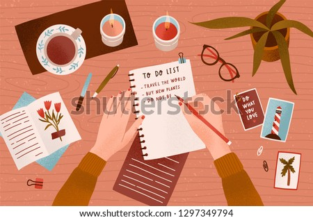 Woman s hands holding pen and writing down goals to achieve in notepad or making To Do List. Top view. Effective personal planning and organization. Colorful vector illustration in flat cartoon style.