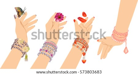 woman's hands with bracelets of