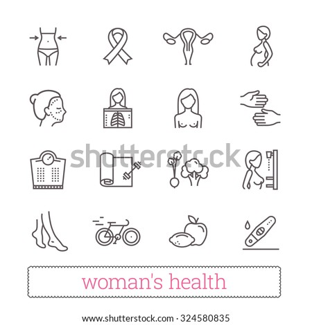 Woman's health thin line icons. Medicine, women's beauty, active lifestyle, healthy diet, breast cancer awareness symbols. Modern vector design elements. Isolated on white.