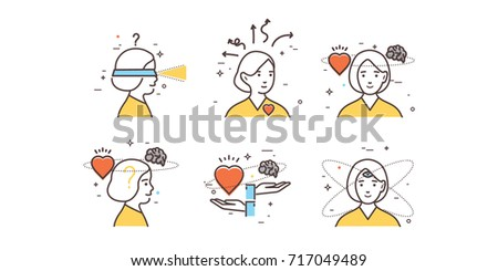 Woman's intuition. Flat design set of intuition, insight, anticipation, choice. Intuitive symbol. Modern thin line icon concept for Website Element, Mobile websites and Apps.