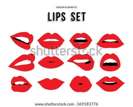 woman's lip gestures set girl