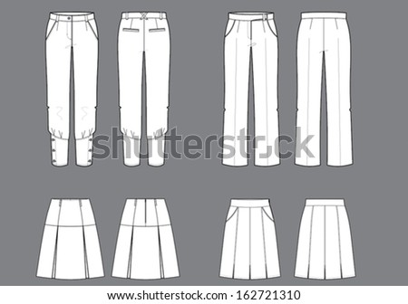woman's trousers and skirts