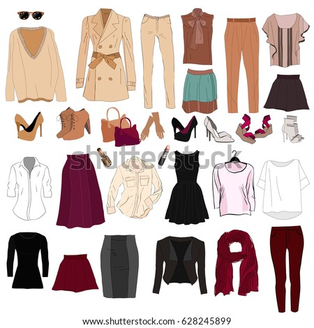 Woman's wardrobe elements for combination. Set of vector woman's clothing. Capsule wardrobe.