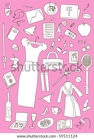 woman's whole day items set