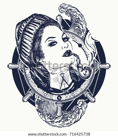 woman sailor tattoo and t shirt