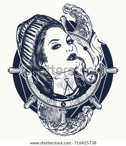 Woman sailor tattoo and t-shirt design. Pin-up style. Girl in the seaman's suit t-shirt design
