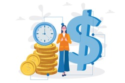 Woman save time, make money,  dollar coin, Vector illustration for web banner, infographics, mobile. Time is money