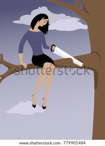 Woman sawing off a tree branch she is sitting on as a metaphor for self-sabotage, EPS 8 vector illustration