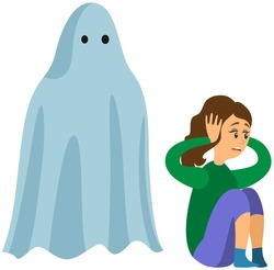 Woman scared of spooky monster. Young lady is afraid of ghost. Girl covers ears from fright near monster, ghost in sheet. Frightened female character is looking at flying phantom in white sheet