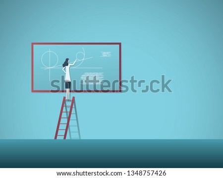 Woman scientist or professor calculation maths vector concept. Symbol of woman achievement, talent, intelligence, knowledge and scientific research. Eps10 vector illustration.