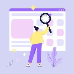Woman searching for information. Web search concept vector illustration.
