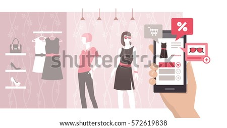woman searching products and