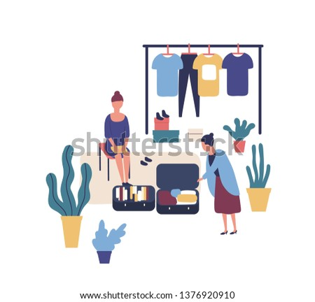 Woman selling stylish vintage clothes at garage sale. Cute funny female seller and customer at summer outdoor fashion festival, flea market or rag fair. Flat colorful cartoon vector illustration.