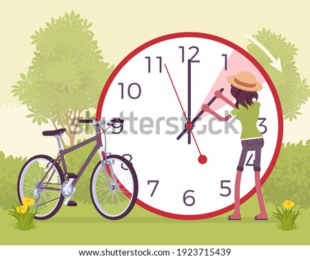 Woman shifting the clock for daylight savings time. Summer practice, advancing clocks during warmer months. Vector flat style cartoon illustration, grassland green scenery