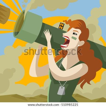 woman shooting a bazooka
