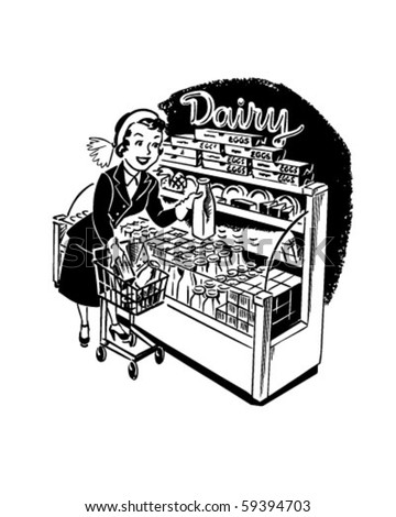 woman shopper at dairy   retro...
