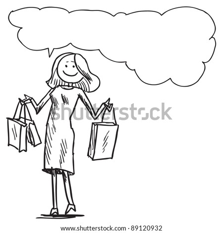 Woman shopping and  speaking something