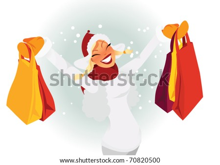 woman shopping during winter