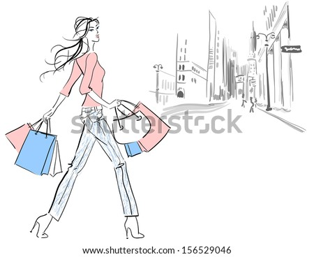woman shopping girl with