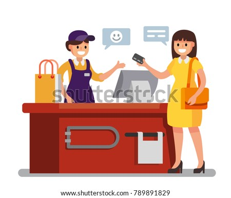 Woman Shopping in supermarket. Vector flat illustration