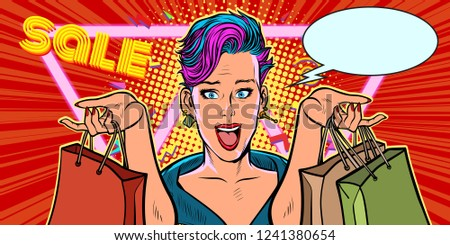 woman shopping on sale. Pop art retro vector illustration vintage kitsch