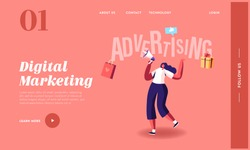 Woman Shouting to Megaphone Landing Page Template. Female Character Advertising. Online Public Relations and Affairs. Alert, Speech, Pr Social Media Promotion, Digital Ads. Cartoon Vector Illustration