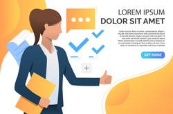 Woman showing thumb up and recommending business product. Representative, recommendation concept. Presentation slide template. Vector illustration for topics like business, marketing, advertisement