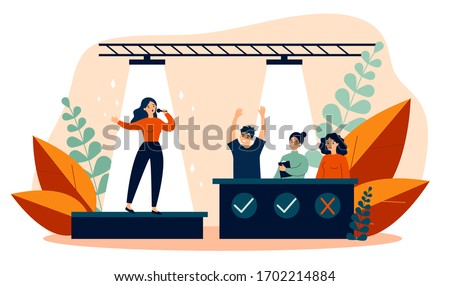 Woman signing at talent show flat vector illustration. Future celebrity singer standing on scene or stage in front of jury assessing her. Competition and television contest concept.