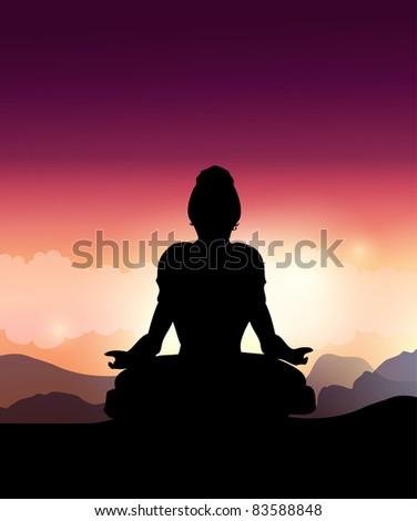 Woman Silhouette Doing Yoga Meditation.Vector Illustration