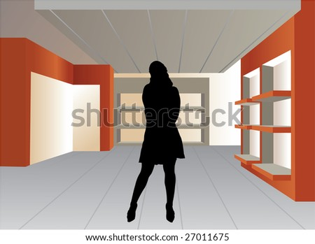 woman silhouette in empty shop vector