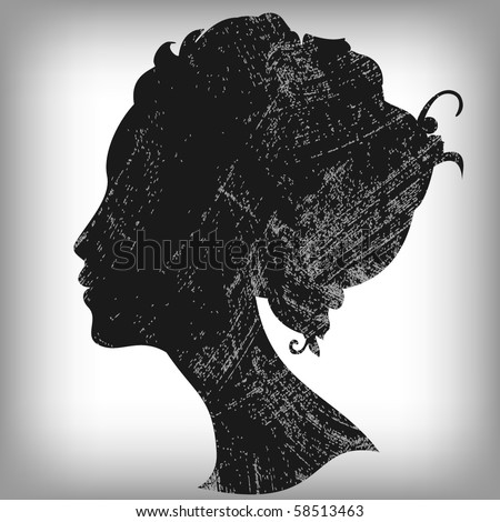 Woman silhouette in grunge style