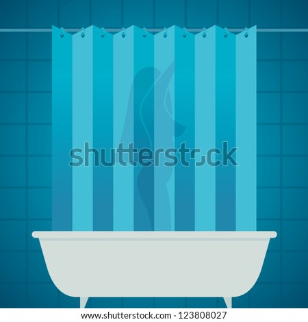 woman silhouette in shower bathing bathroom / vector no effect - stock vector