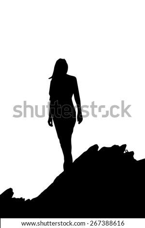 woman silhouette on a mountain