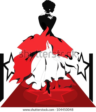 woman silhouette on a red