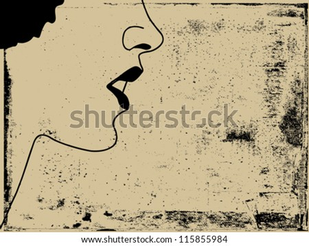 woman silhouette on grunge background, vector illustration