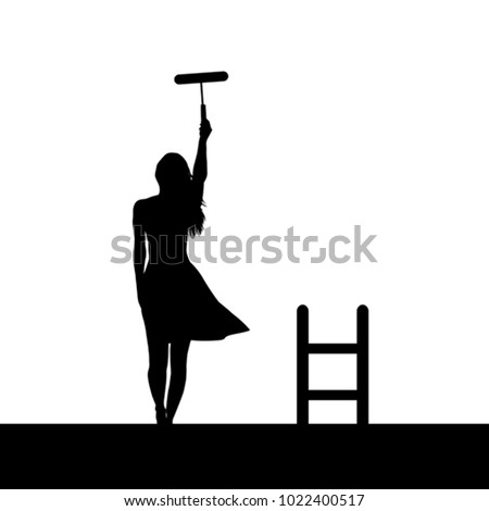 woman silhouette painting the
