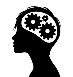 Woman silhouette with thinking brain gears in her head