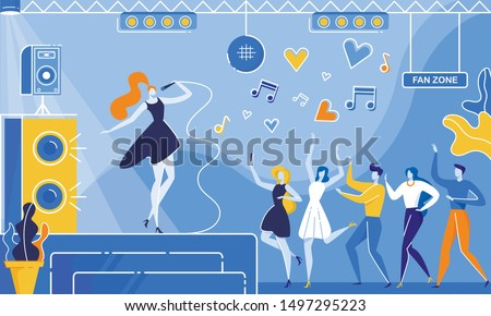 Woman Singer with Microphone Perform Song on Nightclub Stage Vector Illustration. Cartoon People Crowd Dance Fan Zone Dancefloor. Music Club Concert, Live Performance, Karaoke Night Party