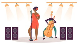 Woman singing on stage, musician playing cello, vector illustration. Jazz concert, live music performance, women cartoon characters in flat style. Female singer on stage, talent show casting